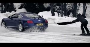 Снежен екшън: Bentley Continental GT 4×4 и ски шампион (видео)