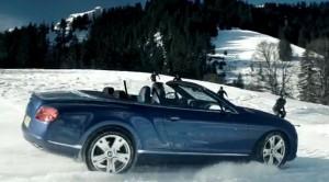 Снежен екшън 2: Bentley Continental GTC 4×4 срещу екстремни скиори (видео)