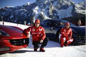 Ferrari FF: Маса и Алонсо в паралелен слалом на ски писта (видео)
