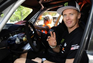 France's driver Guerlain Chicherit waves