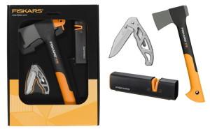 Промо: брадва Fiskars X7 + нож Gerber Paraframe + точило Xsharp