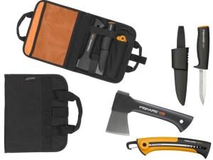 Къмпинг комплект Fiskars 129012: брадва X5 + нож K40 + сгъваем трион